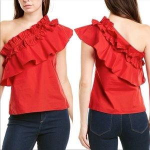 Saloni Esme One-Shoulder Ruffle-Edged Cotton Top